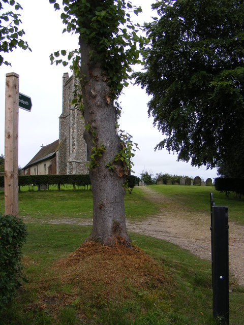 Friston Church & the footpath to Grove Road