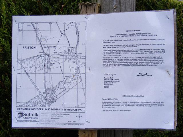Footpath amendment notice on Church Path
