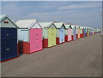 TQ2704 : Colourful Beach Huts along the seafront by Josie Campbell