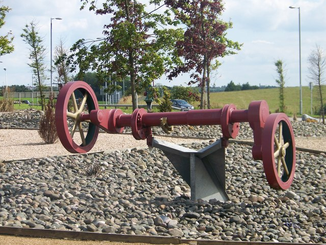 A crankshaft on the roundabout for the A73 and A721 junction