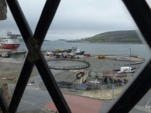 Scalloway: looking over the harbour from the castle