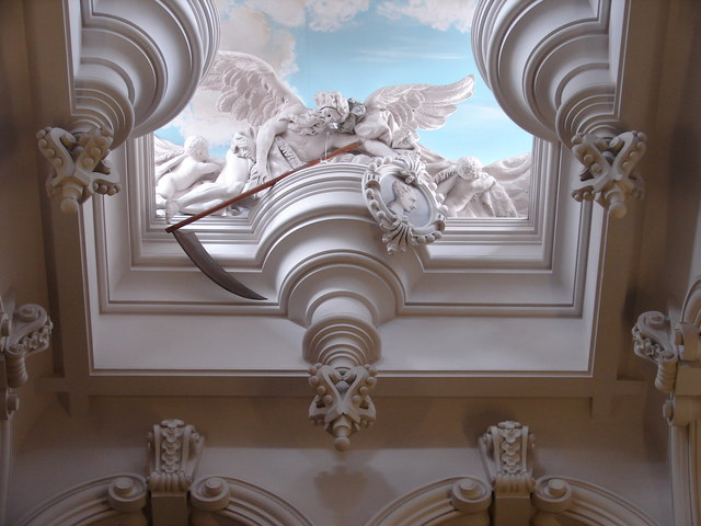 Detail above the Cedar Staircase, Harlaxton Manor
