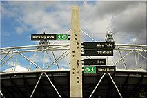 TQ3783 : Greenway waymarker near the Olympic Stadium by Julian Osley