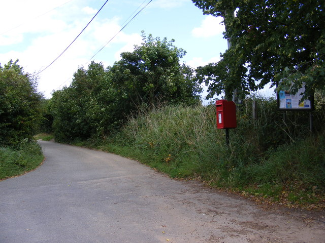 Restricted Byway to Hall Farm Road & Great Bealings Post Office Postbox