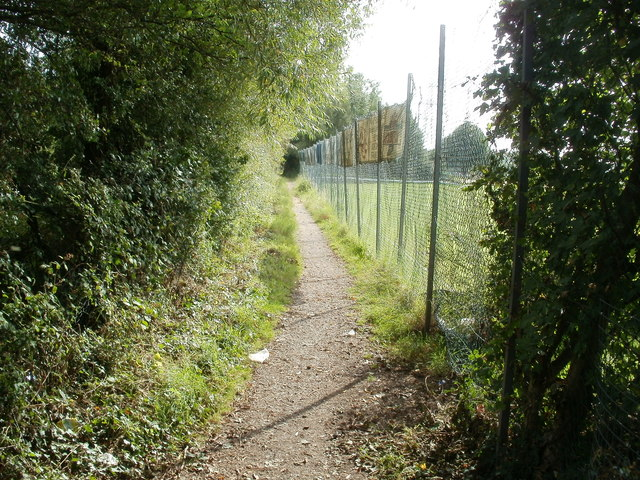 Path along the edge of a cricket pitch, Traston Road, Newport