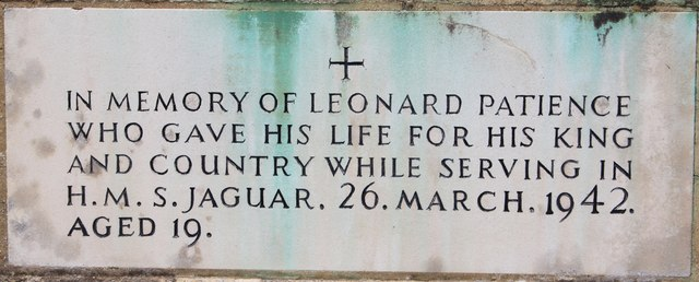 Leonard Patience & HMS Jaguar memorial