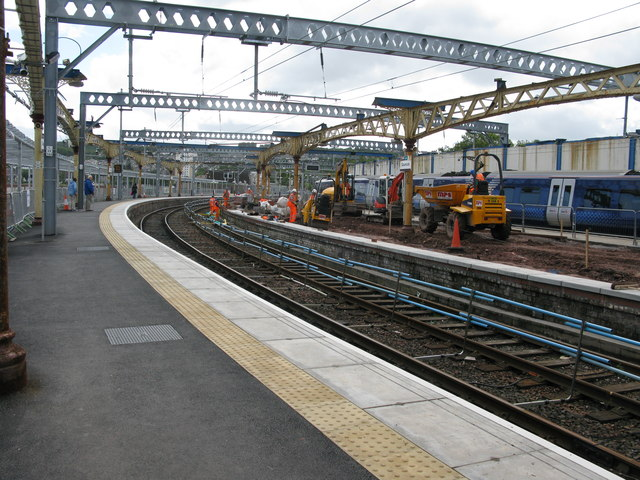 Reconstruction work at Gourock railway station