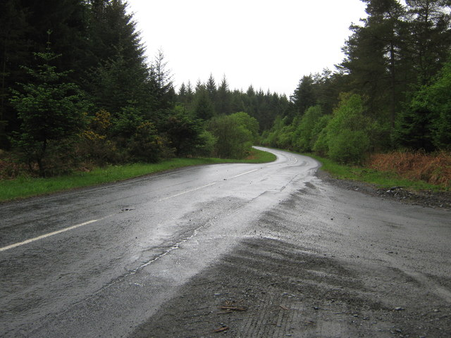 A75 at the junction with a forestry road