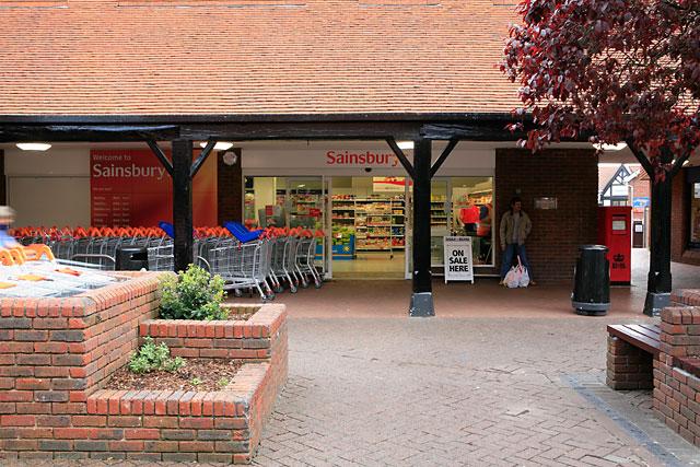 Entrance to Sainsburys, Pedlars Walk, Ringwood