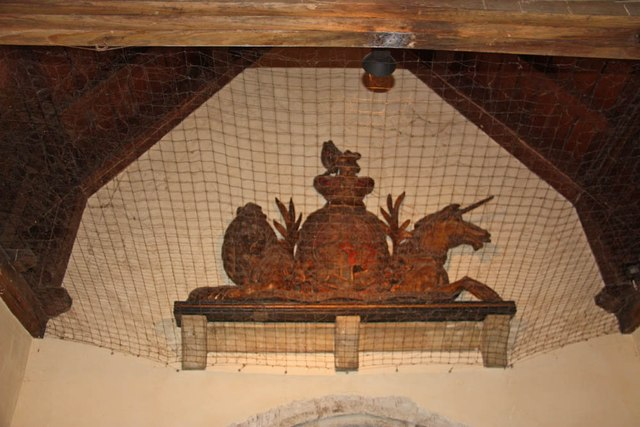 St Lawrence, Alton - Royal Arms in porch