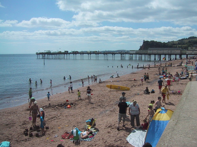 The pier and Shaldon Ness beyond Teignmouth beach