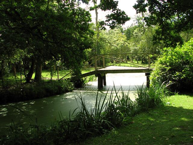 Bridge over water channel, Fairhaven Water Garden