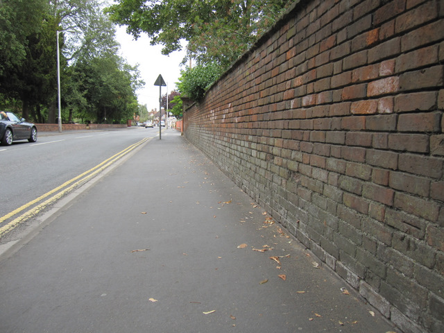 Wall alongside Rother Street and a bench mark - 2