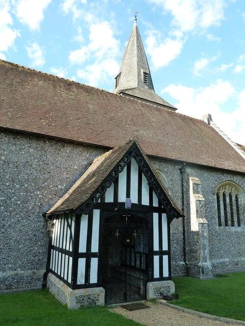 All Saints, East Stratton: church porch