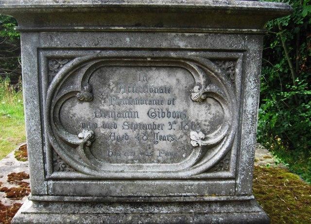 Inscription for Benjamin Gibbons (senior), St. Mary's Churchyard, Stone