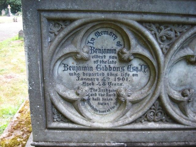 Inscription for Benjamin Gibbons (junior), St. Mary's Churchyard, Stone