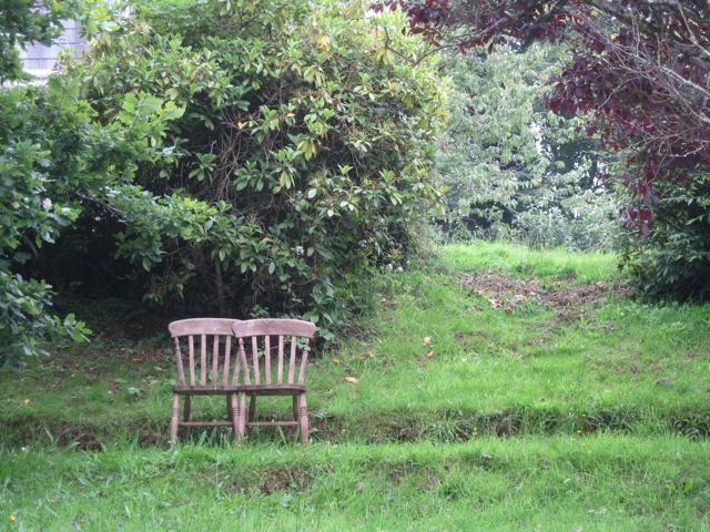 Hillside garden with seat, Bow