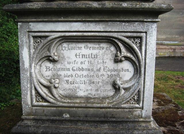 Inscription for Emily Gibbons, St. Mary's Churchyard, Stone
