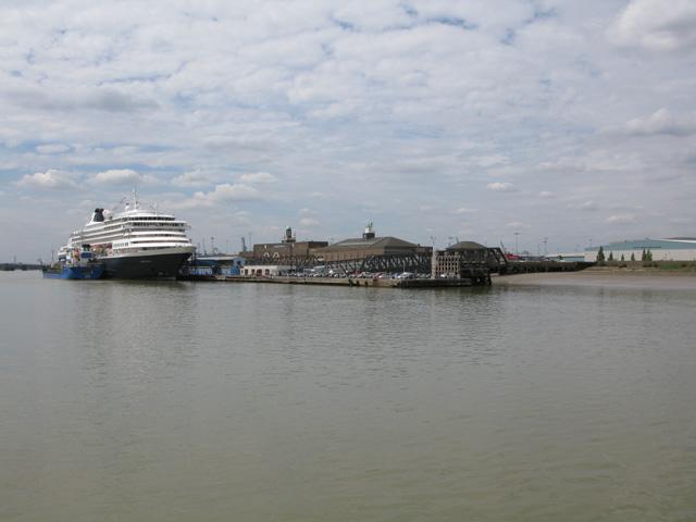 Approaching London International Cruise Centre, Tilbury