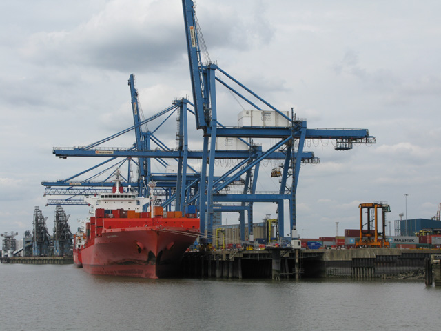 Cranes unloading the Cap Gabriel at Tilbury Docks