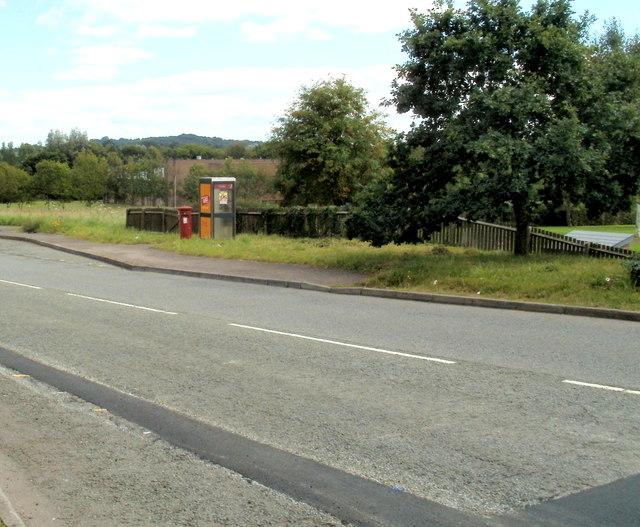 Phonebox and postbox, Llantarnam Park Way, Cwmbran