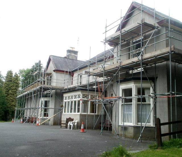 Scaffolding on Llanfair Grange, Llandovery