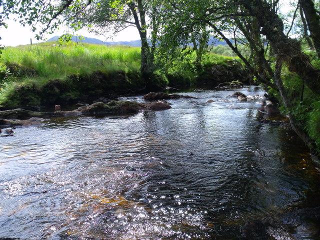 Below the waterfall on Strone Burn near Loch Katrine