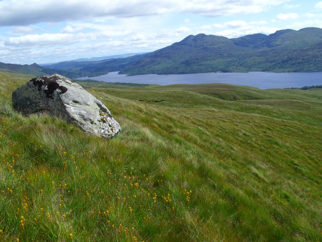 Boulder on the southern slopes of Meall Gaothach near Loch Katrine
