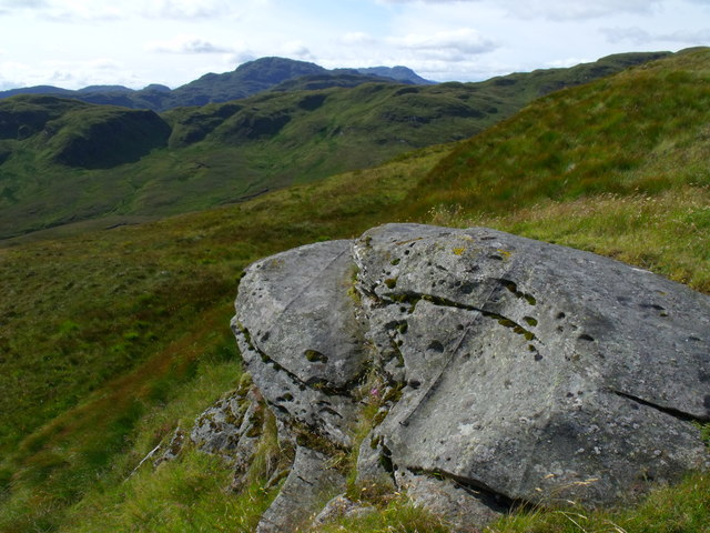 Toad-like boulder on the ridge of Beinn Bhreac north of Loch Katrine