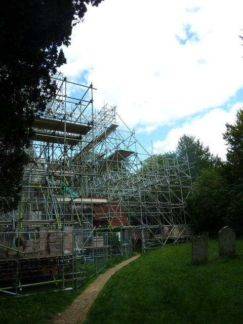 St Peter & Holy Cross, Wherwell: scaffolding (i)