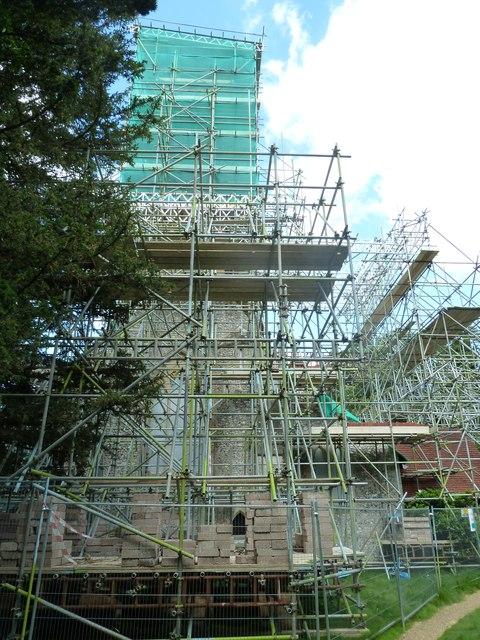 St Peter & Holy Cross, Wherwell: scaffolding (ii)