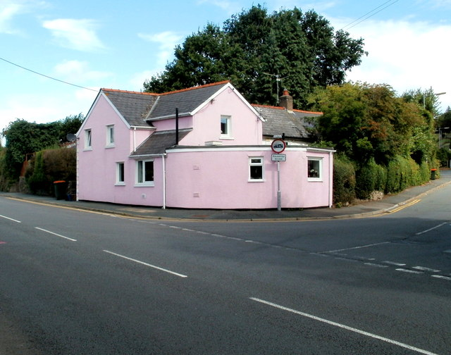 A pink house, Western Valley Road, Newport