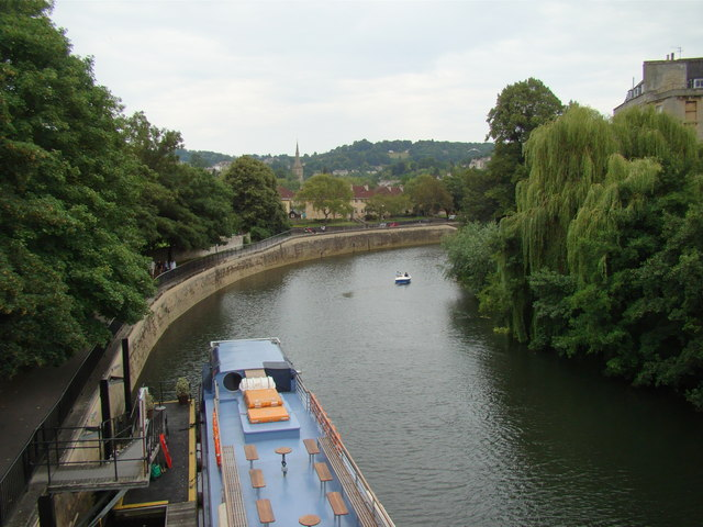 Looking southeast down the Avon towards Bath Spa