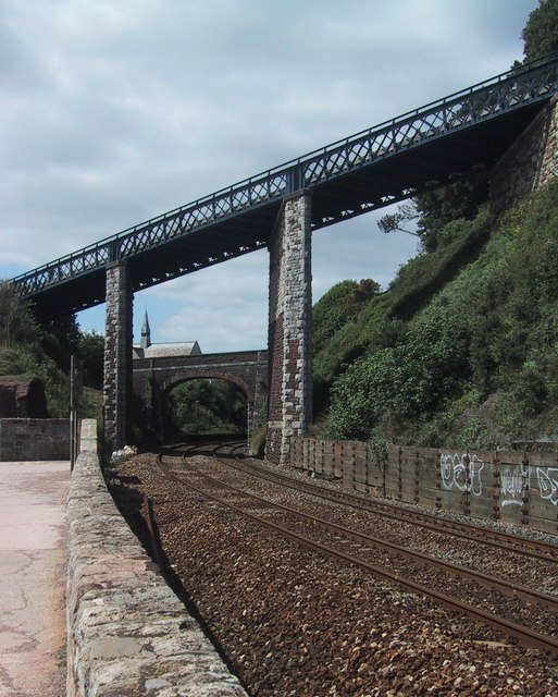 The railway curves towards Teignmouth station