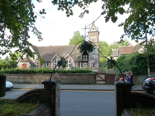 Looking from the churchyard across to the village school