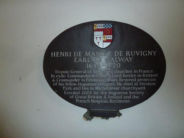 St Mary's, Micheldever: commemorative plaque (i)