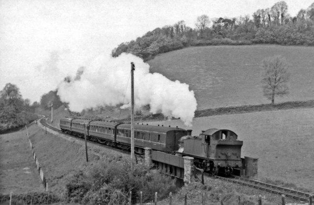 Minehead - Taunton branch train, near Williton