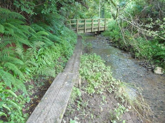 Footbridge and boardwalk near Llangwm