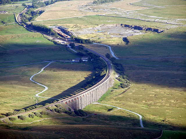 An evening view of Ribblehead Viaduct  from the summit of Whernside