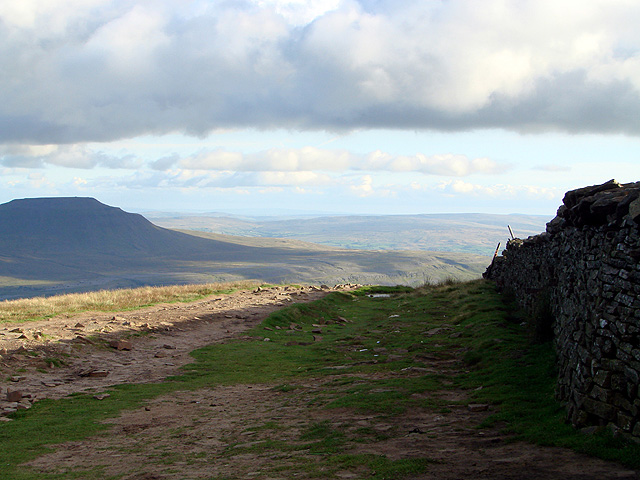 A view towards Ingleborough from the summit shelter on Whernside