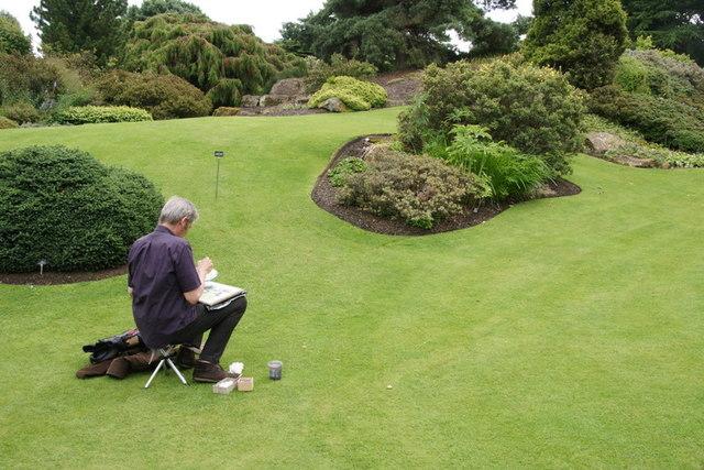 Artist in the rock garden, Royal Botanic Gardens Edinburgh