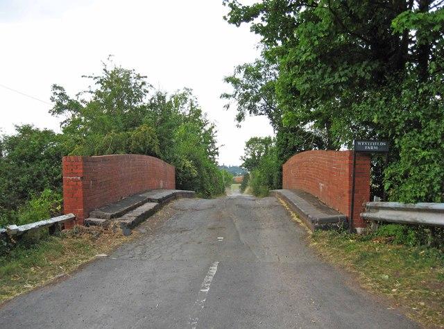 Access road to Westfields Farm near Hanbury Wharf