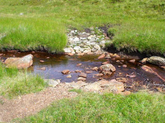 Metalled ford in the tributary to Strone Burn below Meall Gaothach
