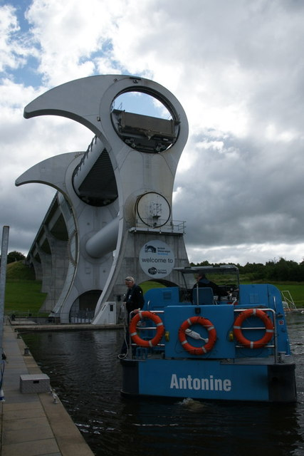 Tour boat beside the Falkirk Wheel