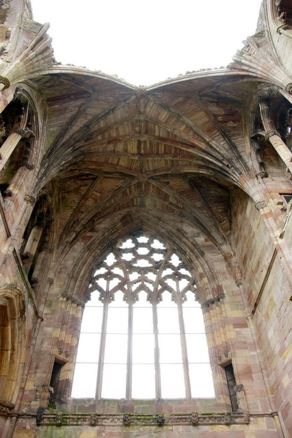Window and vaulted roof, Melrose Abbey