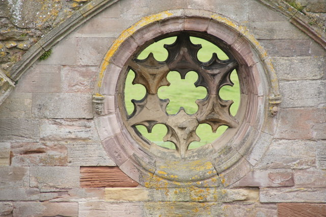 Ornamentation on the north transept of Melrose Abbey