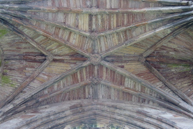 Vaulted roof, south transept of Melrose Abbey