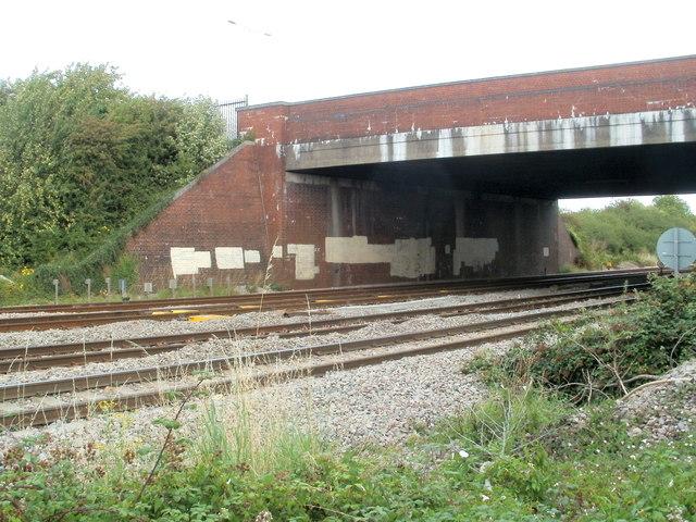 South Wales main railway line passes under Spytty Road bridge, Newport