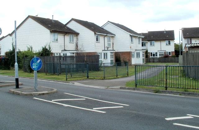 Moorland Park houses opposite Newport East Community Centre