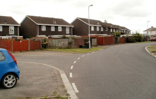 Houses on a bend in Moorland Park, Newport